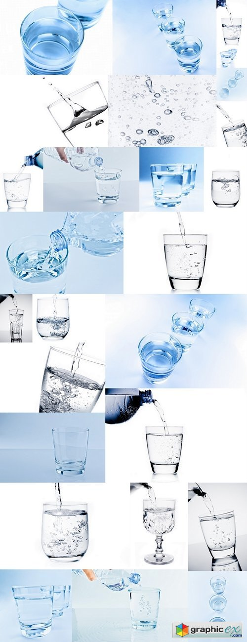 Top of view of drink glasses with water, nutrition and health-care concept