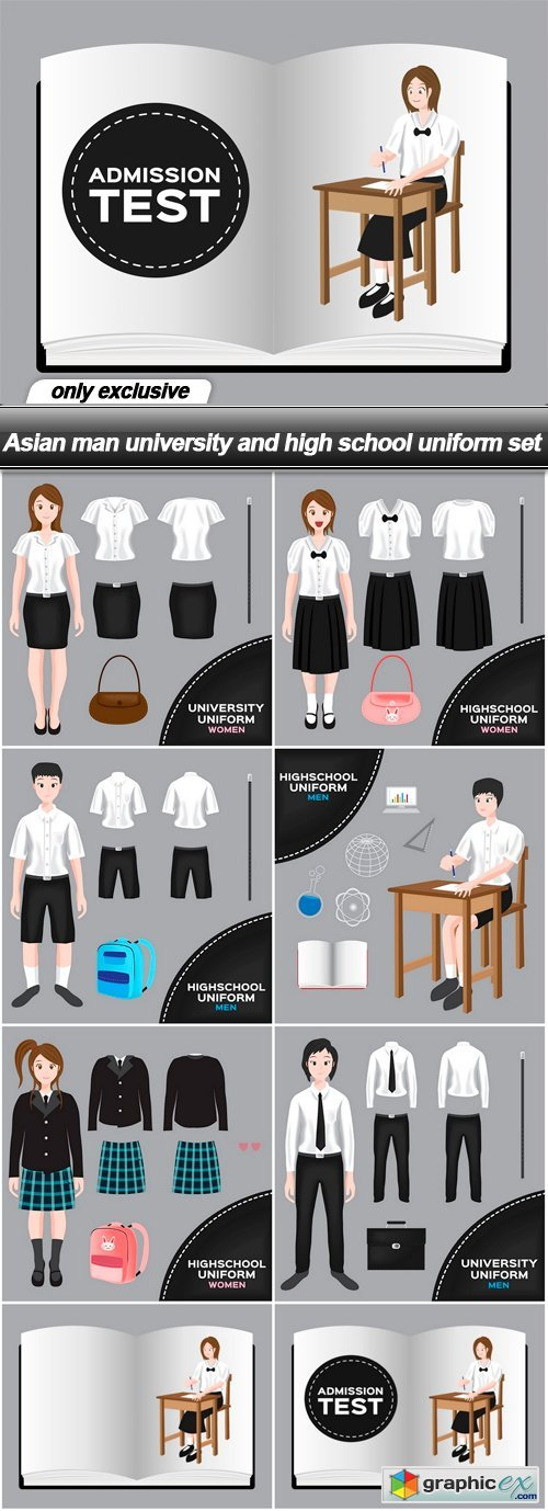Asian man university and high school uniform set - 8 EPS