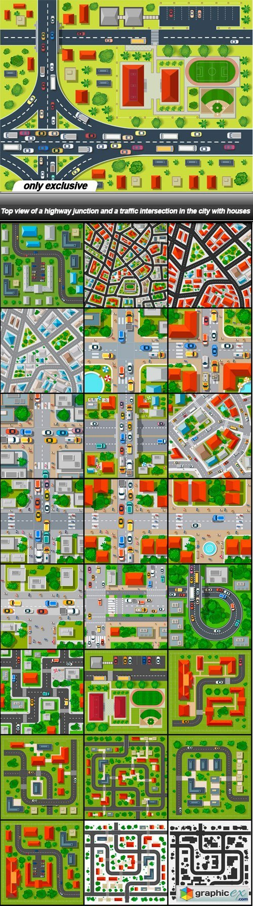 Top view of a highway junction and a traffic intersection in the city with houses - 25 EPS