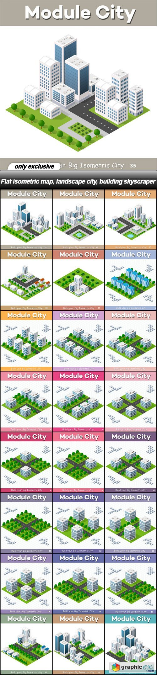 Flat isometric map, landscape city, building skyscraper - 24 EPS