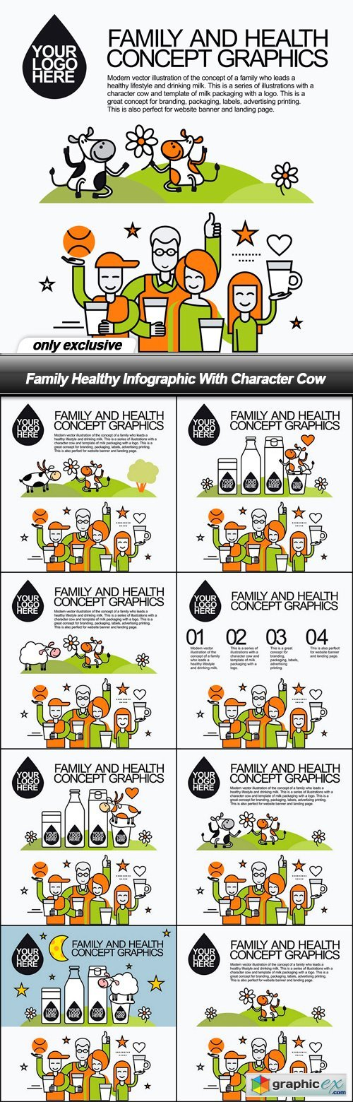Family Healthy Infographic With Character Cow - 8 EPS