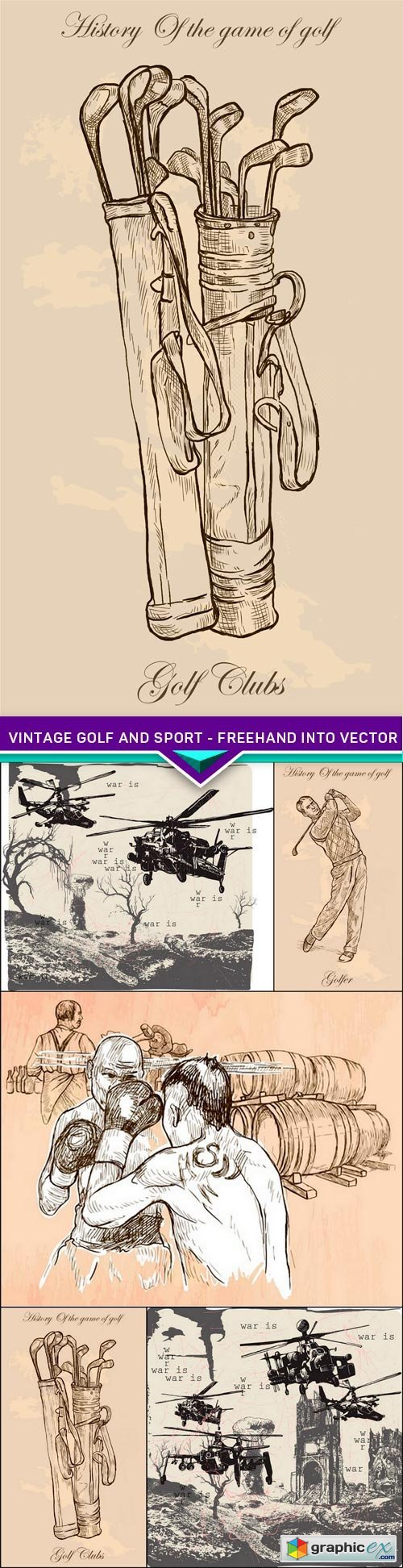 Vintage golf and sport - freehand into vector 5X EPS