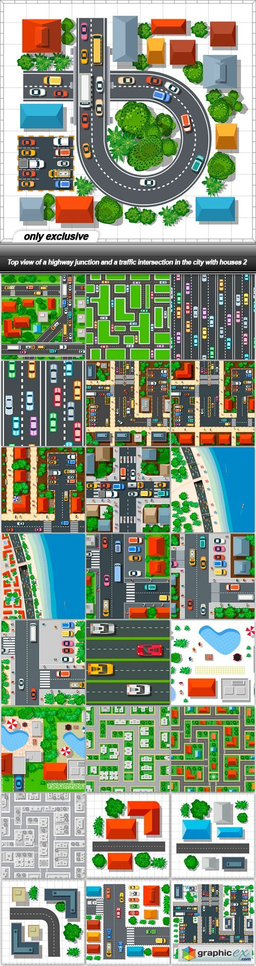 Top view of a highway junction and a traffic intersection in the city with houses 2 - 25 EPS