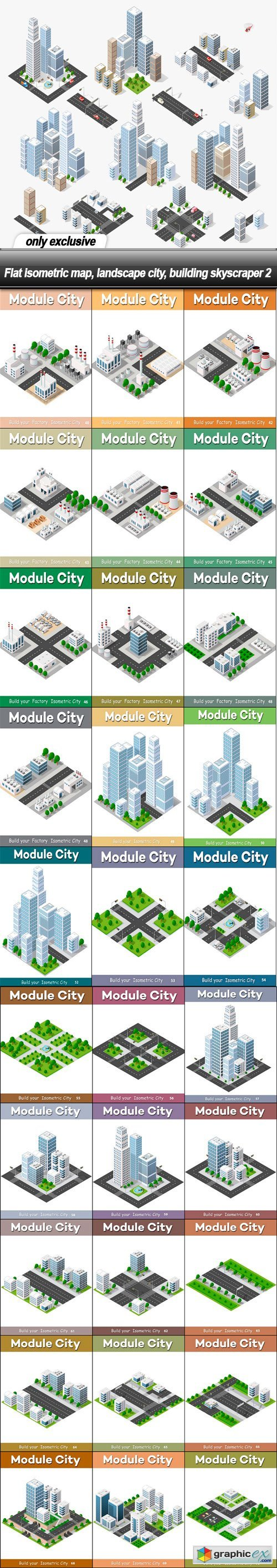 Flat isometric map, landscape city, building skyscraper 2 - 31 EPS
