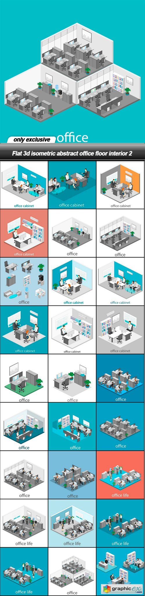 Flat 3d isometric abstract office floor interior 2 - 28 EPS