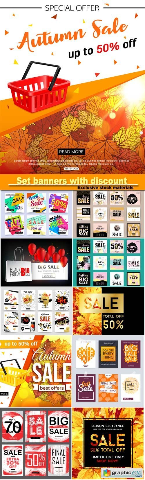 Set media banners with discount offer, shopping background, label for business promotion