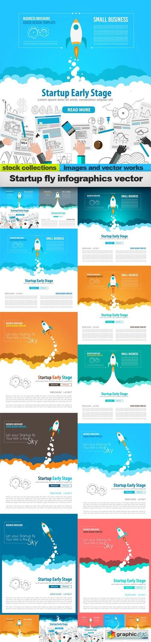 Startup fly infographics vector, 15 x EPS