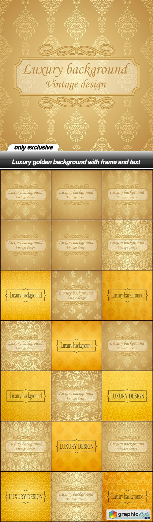 Luxury golden background with frame and text - 21 EPS
