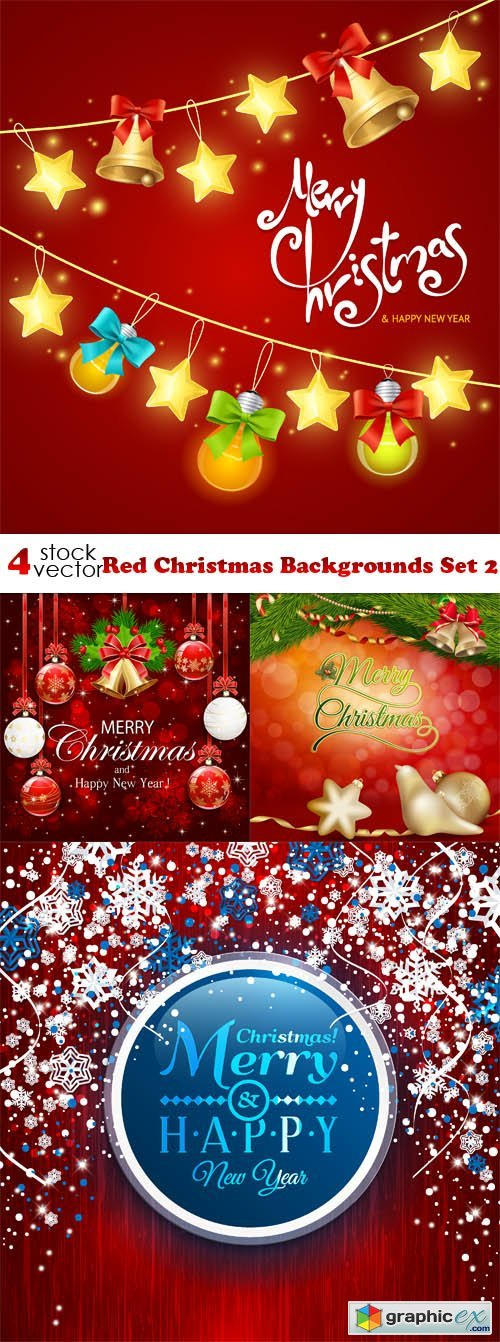 Red Christmas Backgrounds Set 2