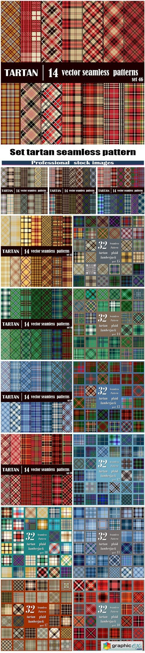 Set tartan seamless pattern