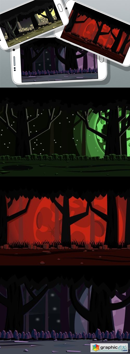 7 Night Forest Game Backgrounds