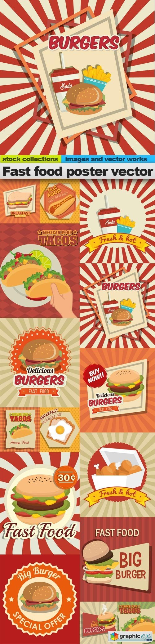 Fast food poster vector, 15 x EPS