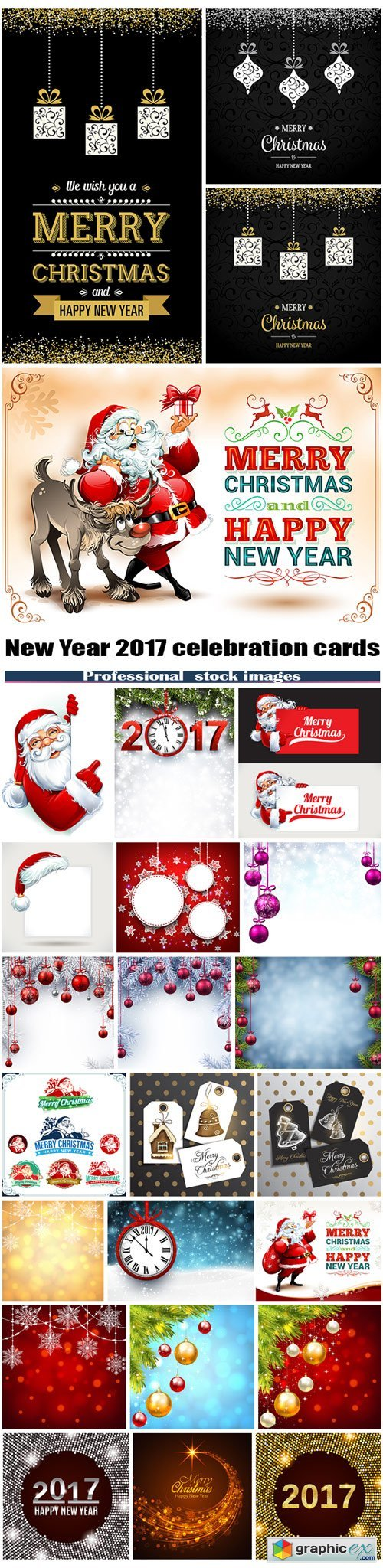New Year 2017 celebration cards