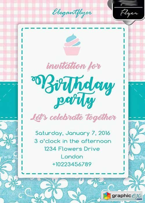 Birthday Party Flyer PSD V8 Template + Facebook cover