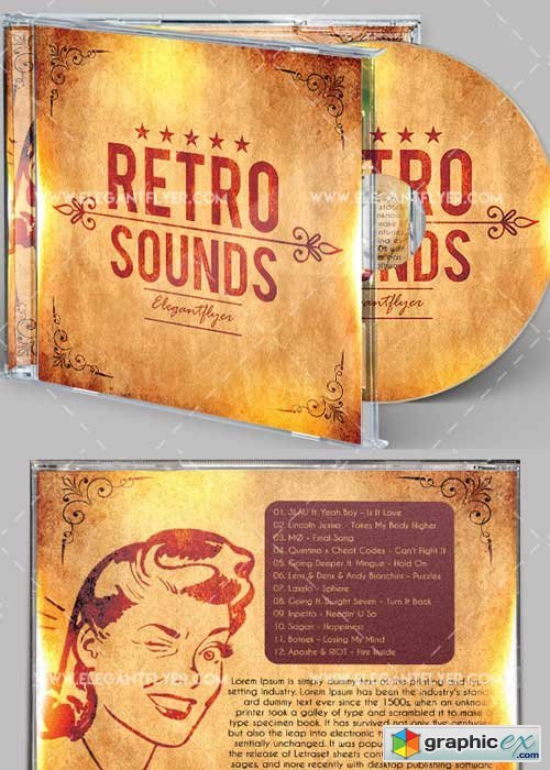 Retro Sounds Premium CD Cover PSD V4 Template