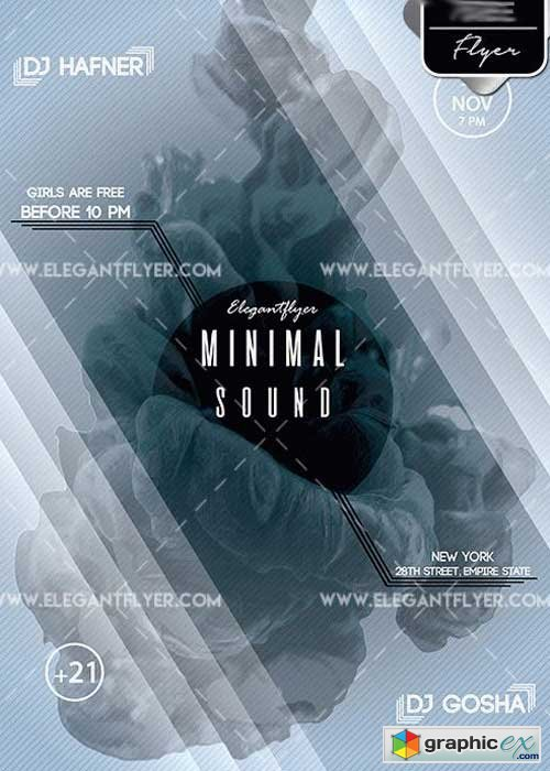 Minimal Sound Flyer PSD V5 Template + Facebook Cover