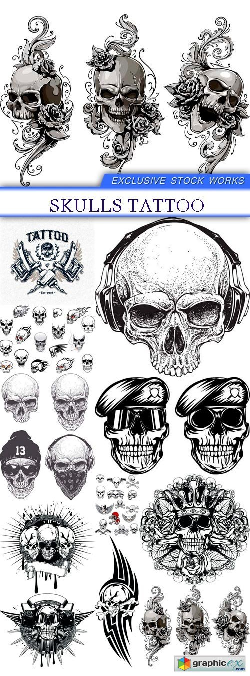 Skulls tattoo 11X JPEG