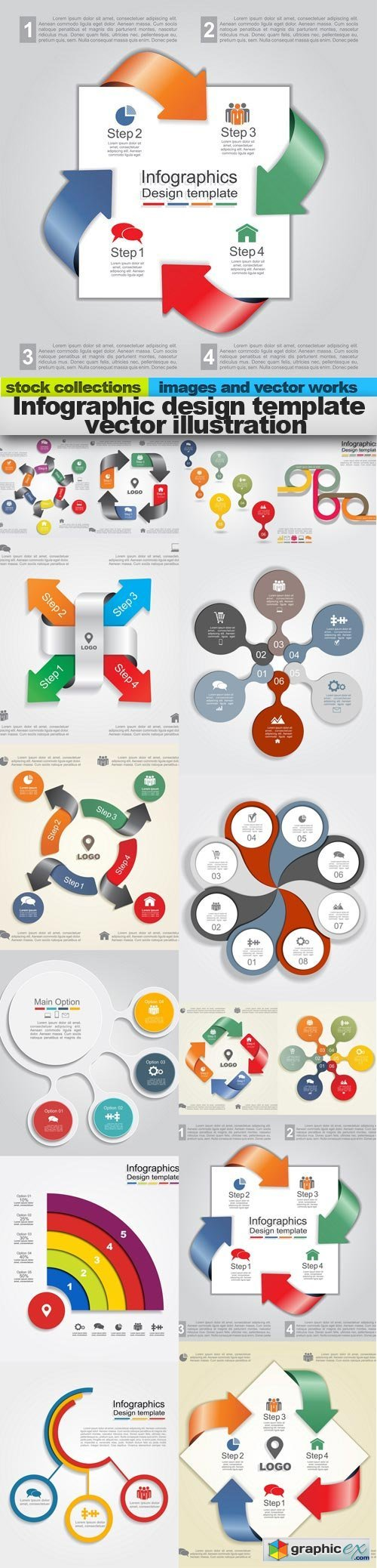 Infographic design template vector illustration, 15 x EPS