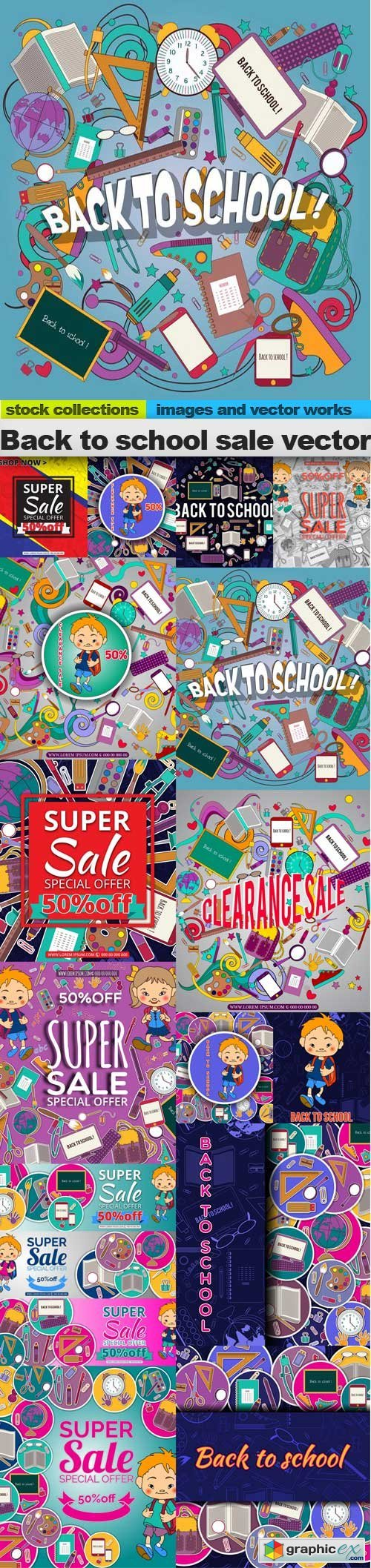 Back to school sale vector, 15 x EPS