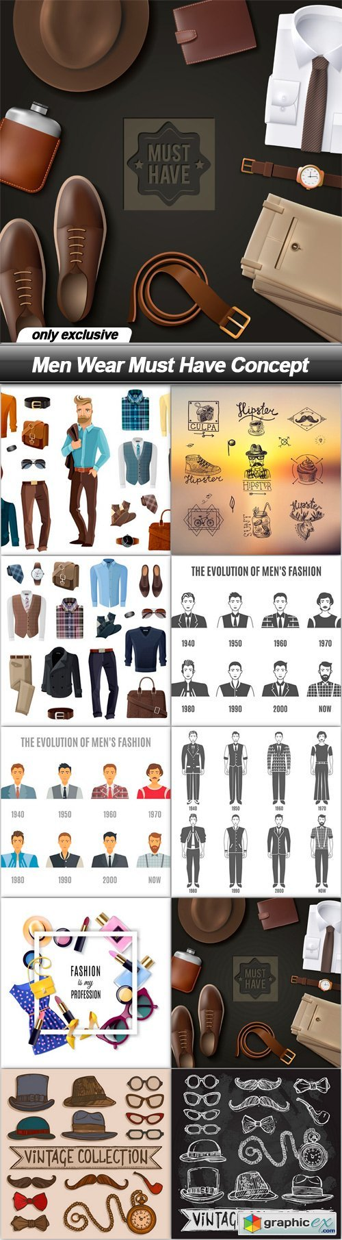 Men Wear Must Have Concept - 10 EPS