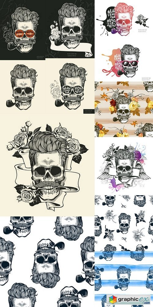 Skull. Hipster silhouette with mustache glasses and tobacco pipe on a colorful splash background