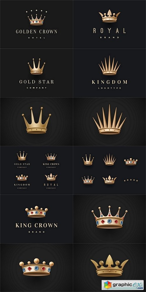 Set of royal gold crowns icons and logos. Isolated luxury logo for branding