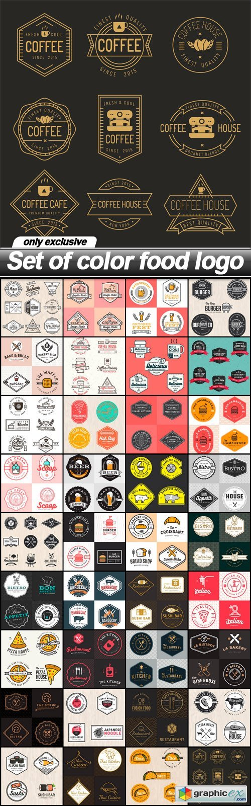 Set of color food logo - 36 EPS