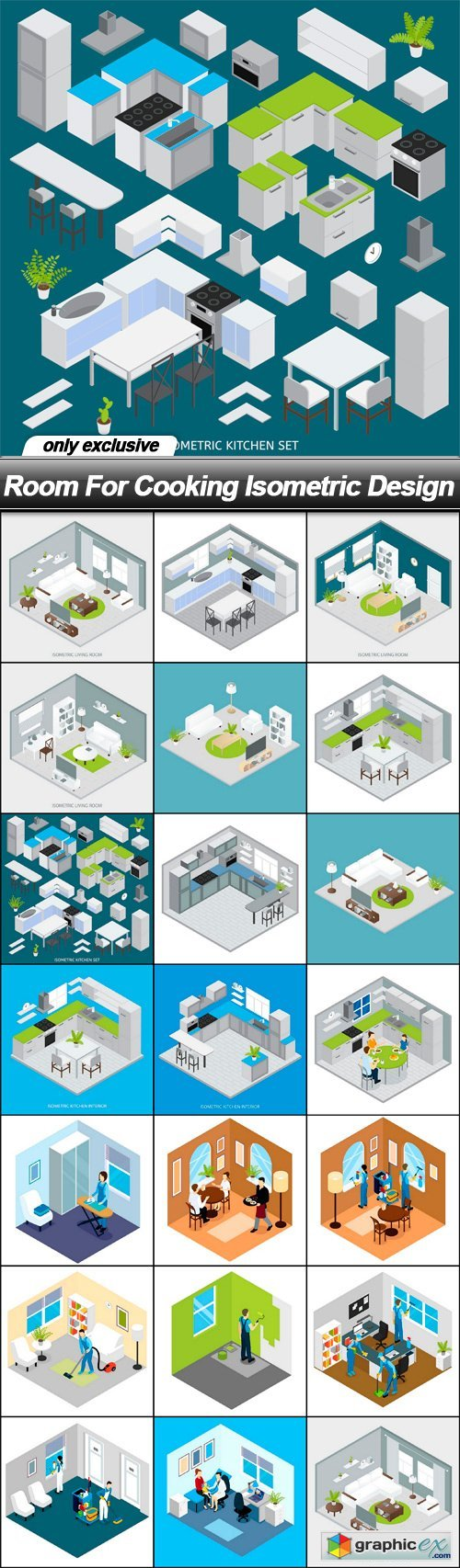 Room For Cooking Isometric Design - 20 EPS