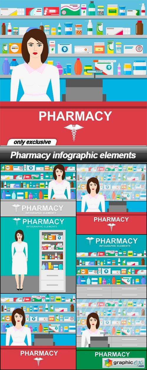 Pharmacy infographic elements - 6 EPS
