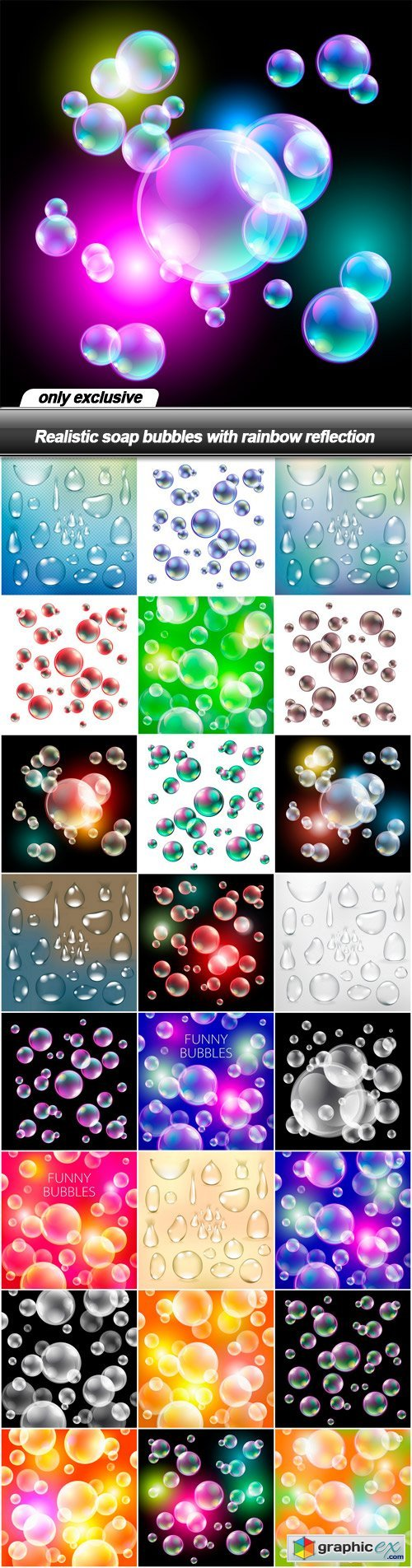 Realistic soap bubbles with rainbow reflection - 25 EPS