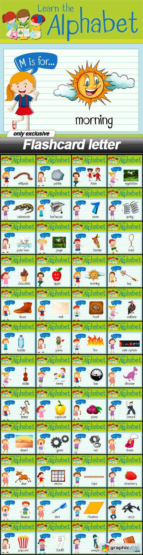 Flashcard letter - 48 EPS