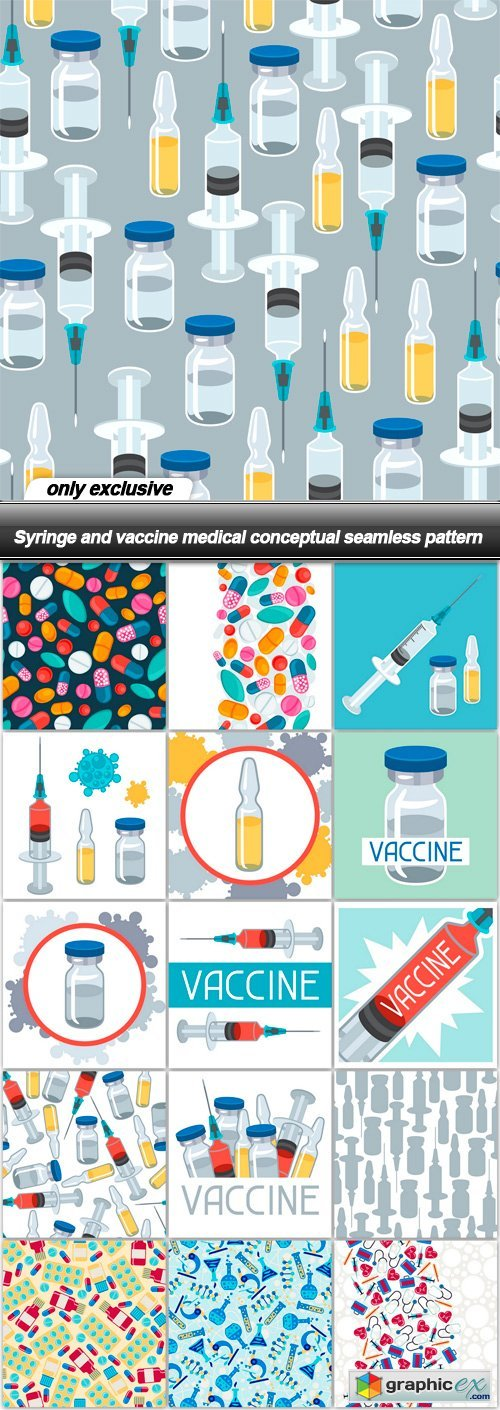Syringe and vaccine medical conceptual seamless pattern - 16 EPS