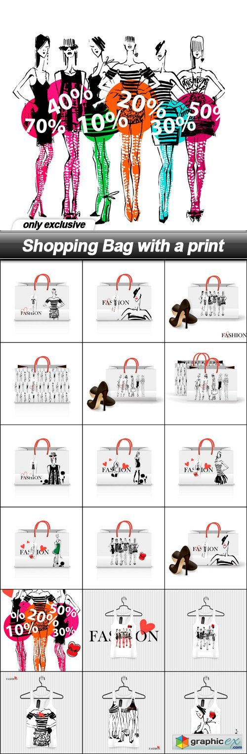 Shopping Bag with a print - 19 EPS