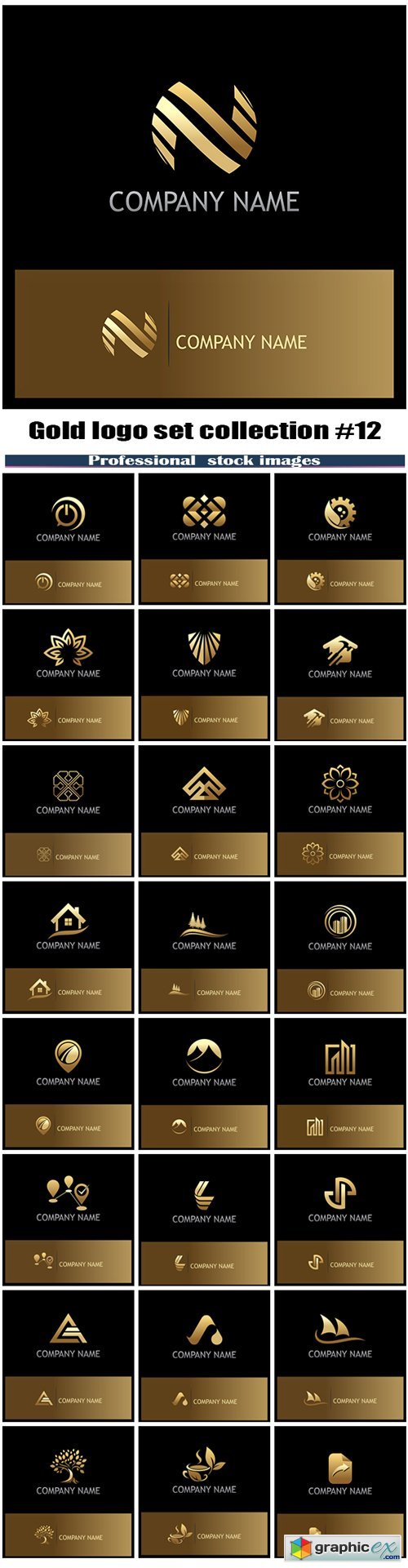 Gold logo set collection #12