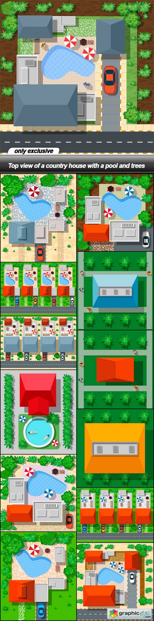 Top view of a country house with a pool and trees - 13 EPS