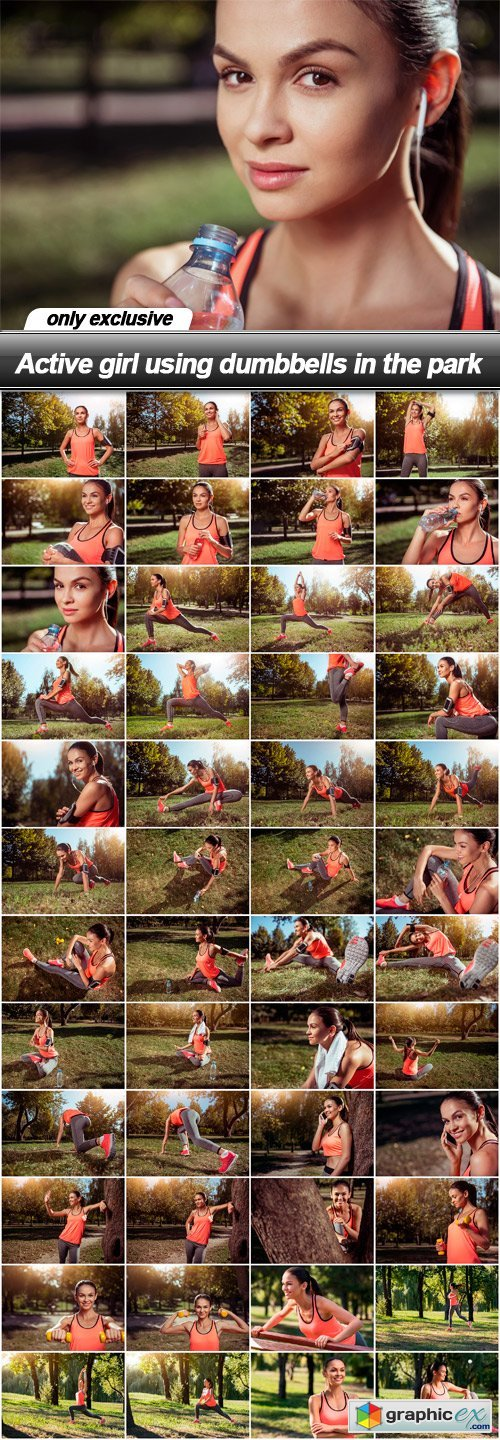 Active girl using dumbbells in the park - 48 UHQ JPEG
