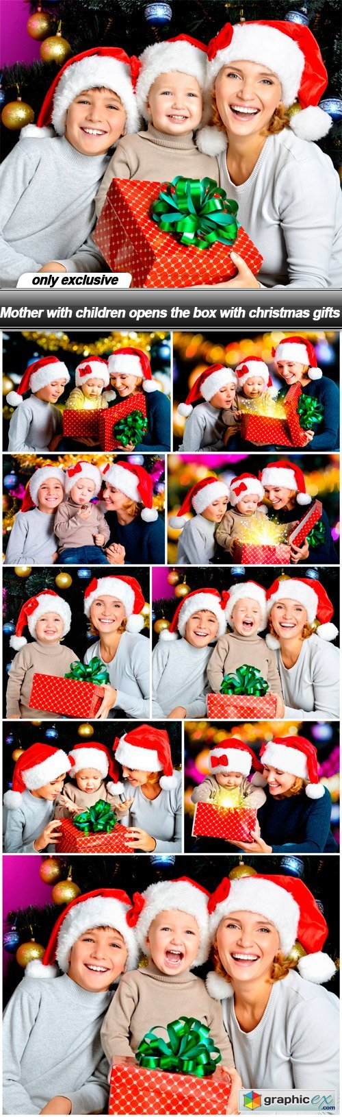 Mother with children opens the box with christmas gifts - 10 UHQ JPEG