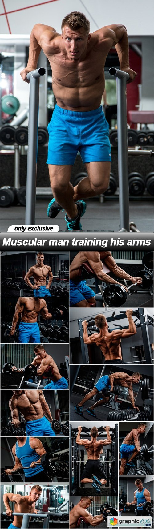 Muscular man training his arms - 14 UHQ JPEG