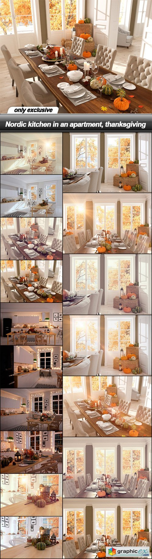 Nordic kitchen in an apartment, thanksgiving - 17 UHQ JPEG