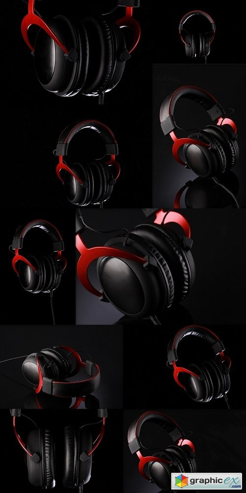 Headphone with dark black background