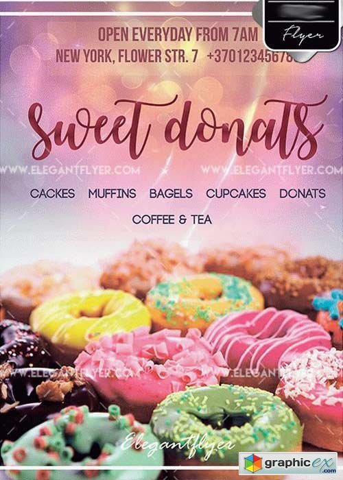 Sweet Donats V5 PSD Template + Facebook cover