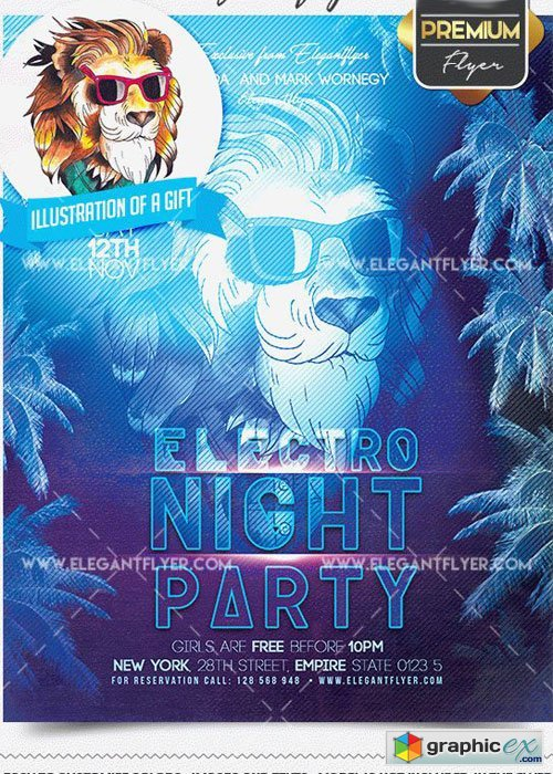 Electro Night Party Flyer PSD V02 Template + Facebook Cover