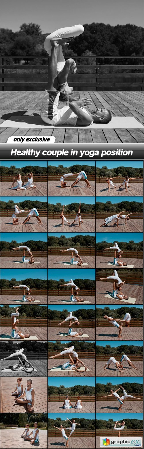 Healthy couple in yoga position - 25 UHQ JPEG