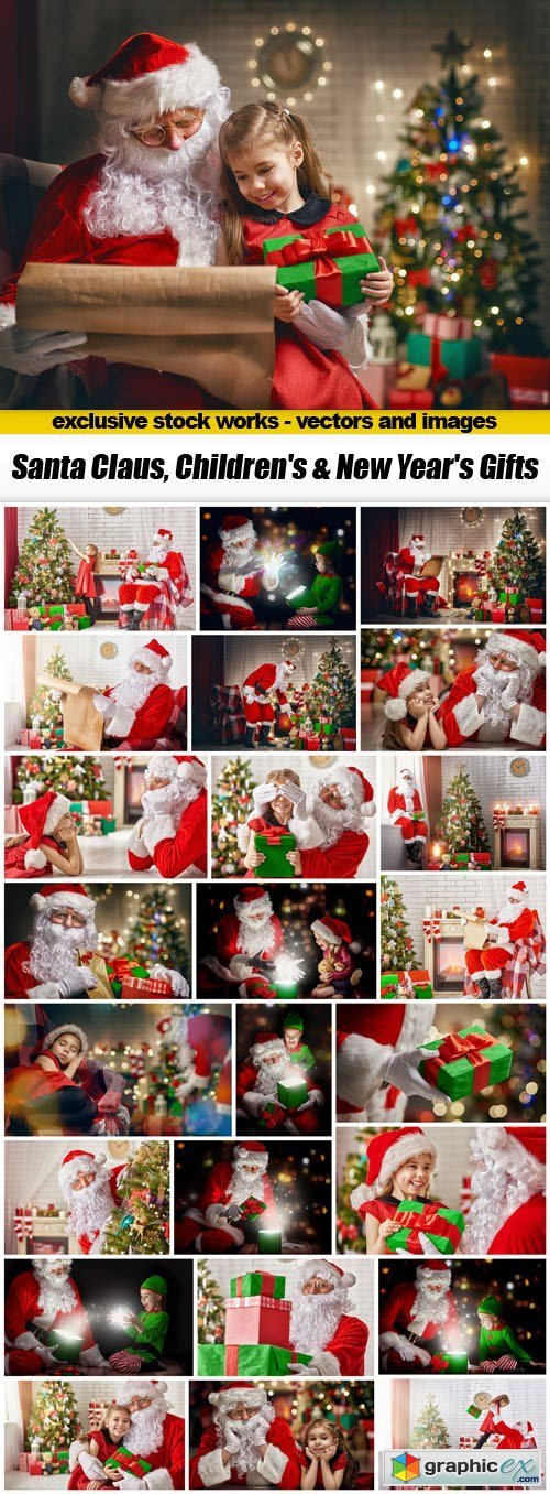 Santa Claus, Children's & New Year's Gifts - 25xUHQ JPEG