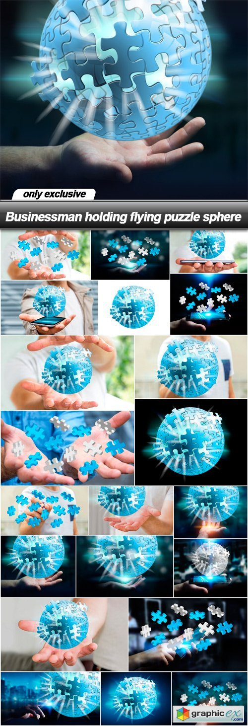 Businessman holding flying puzzle sphere - 21 UHQ JPEG