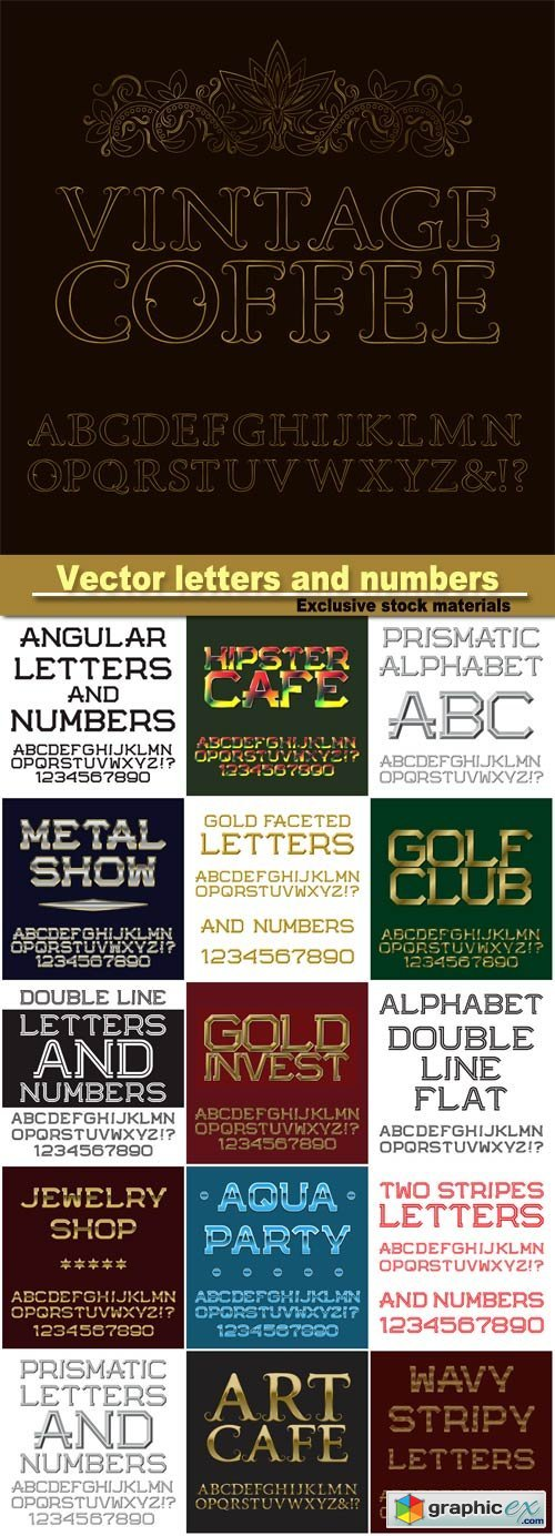 Gold letters and numbers, english alphabet