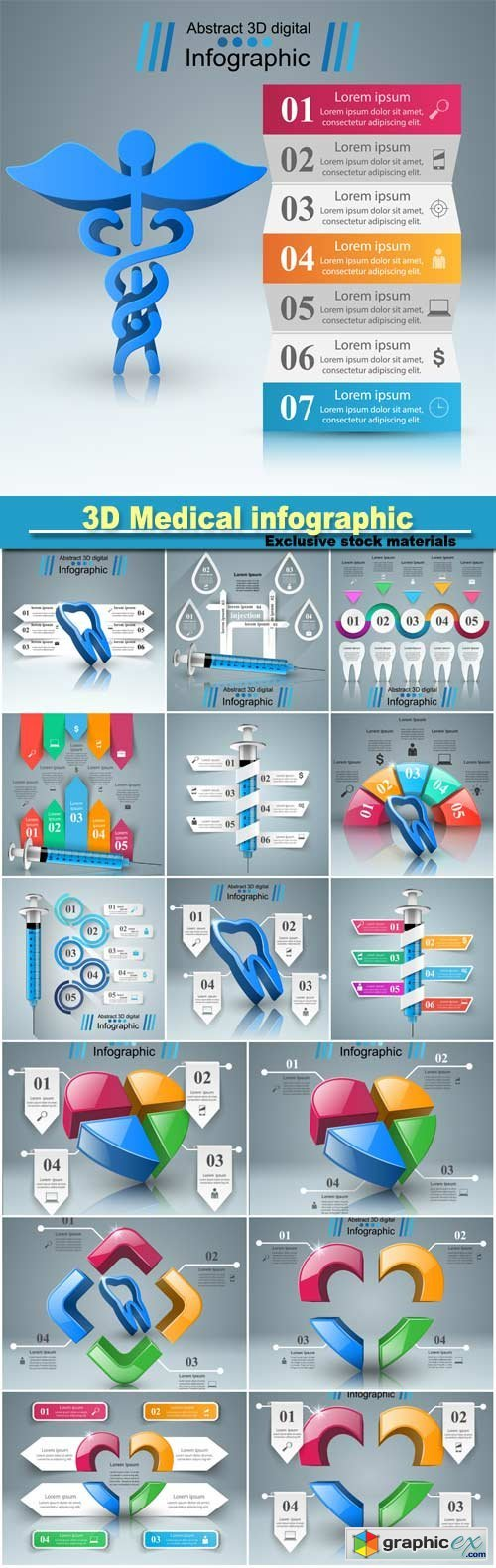 Business Infographics, health icon, 3D Medical infographic