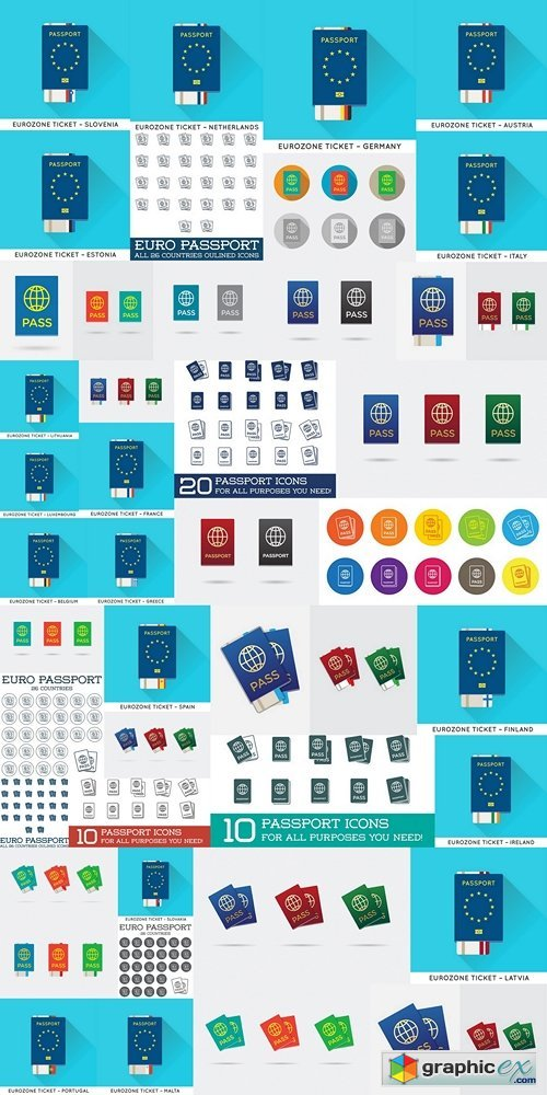 Eurozone Europe Passport with tickets vector illustration