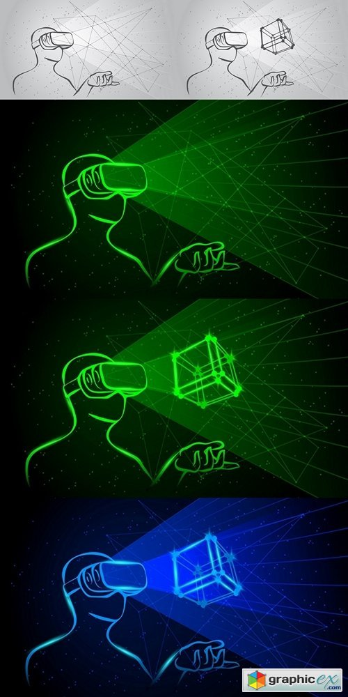 Man wearing virtual reality goggles. Green neon high-tech illustration on a black background