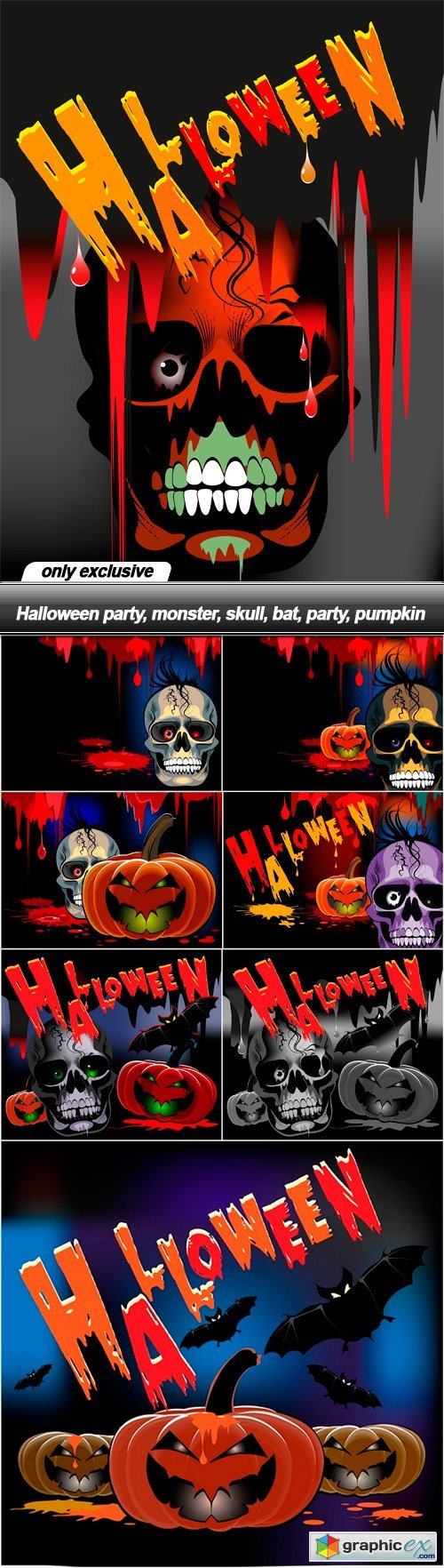 Halloween party, monster, skull, bat, party, pumpkin - 8 EPS